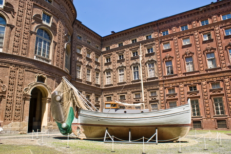 Courtyard of Carignano Palace in Turin, Italy Editorial