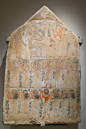 archaeologist: A stele at the egytpian museum in Turin, Italy Editorial
