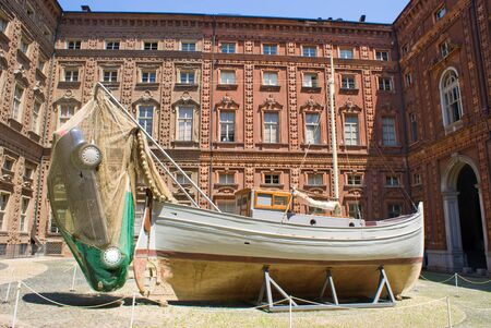 middle ages boat: Courtyard of Carignano Palace in Turin, Italy Editorial