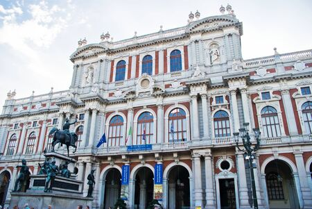 risorgimento: Facade of Madama Palace in Turin, Italy Editorial