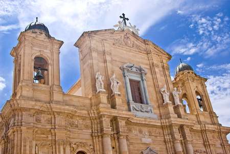 egadi: Facade of Cathedral of Marsala, Sicily in Italy