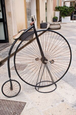 antiquary: Ancient bike in exposure, Sicily in Italy Stock Photo