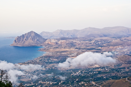 erice: Coastal landscape from the hill, Erice in Sicily Stock Photo