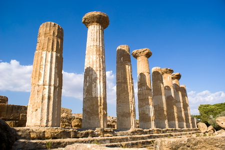 telamon: Temple of Heracles in the Valley of the Temples, Agrigento in Italy Stock Photo