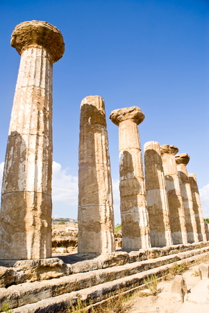 Temple of Heracles in the Valley of the Temples, Agrigento in Italy Stock Photo