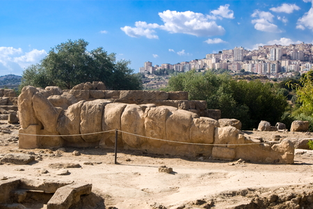 Remains of a Telamon in the Olympeon field, Valley of the Temples in Agrigento, Italy Stock Photo