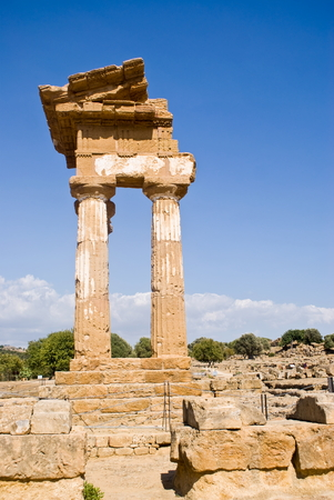 Temple of the Dioscuri in the Valley of the Temples, Agrigento in Italy