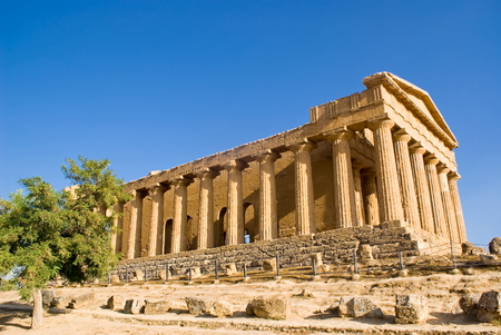 Temple of Concordia in the Valley of the Temples, Agrigento in Italy Stock Photo