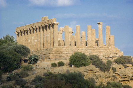 telamon: Temple of Juno Lacinia in the Valley of the Temples, Agrigento in Italy Stock Photo