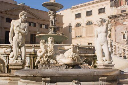 egadi: Fountain in Piazza Pretoria, Palermo in Italy Stock Photo