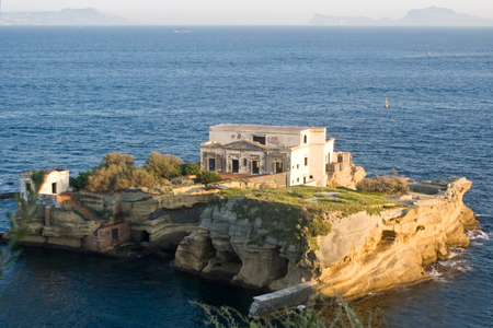 Island of the Gaiola in the archaeological and nature Park of Pausilypon, Naples in Italy