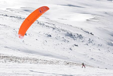 snowkiting: Roccaraso, Italy - January 31, 2016: Snowkiter in action at world championship