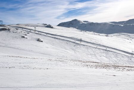 ski runs: View of an apennine winter landscape from the top of a mountain