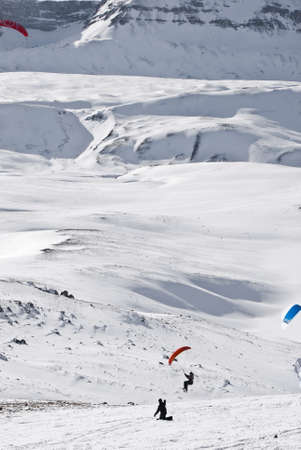 snowkiting: Snowkiter in action at world championship, Italy Stock Photo