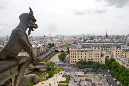 gargoyles: View of Paris from Notre-Dame Cathedral Stock Photo