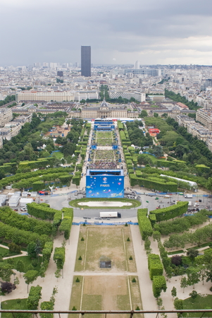 champ: View of Champ de Mars from Eiffel Tower, Paris