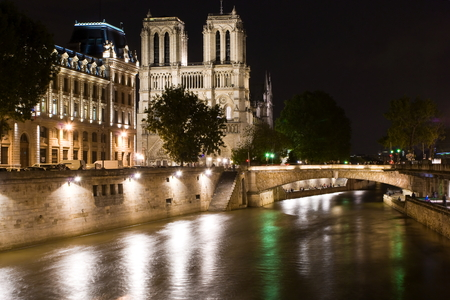 ile de la cite: Notre-Dame Cathedral by nigth in Paris
