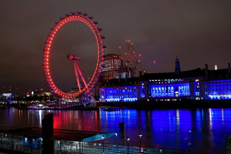 View of London eye by night Editorial