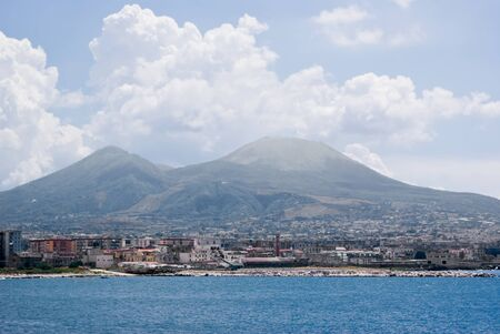 View of Vesuvius volcano in Naples Фото со стока
