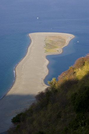 View from the top of the nature reserve of Marinello, Sicily in Italy