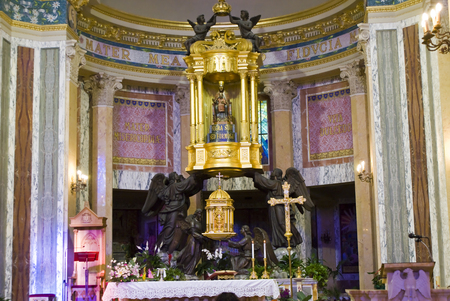 Altar of the black Madonna in the Sanctuary of Tindary, Sicily