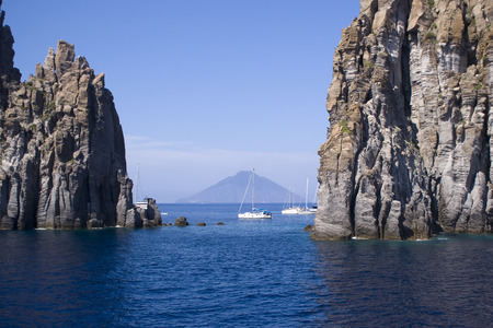 View of Stromboli behind Basiluzzo in the Aeolian Iislands, Sicily in Italy