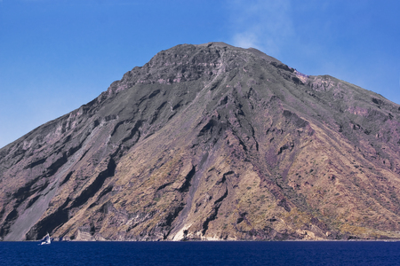 View of Stromboli in the Aeolian Iislands, Sicily in Italy