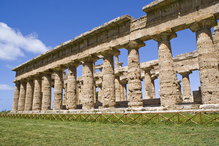 Temple of Neptune in the archaeological site of Paestum, Italy
