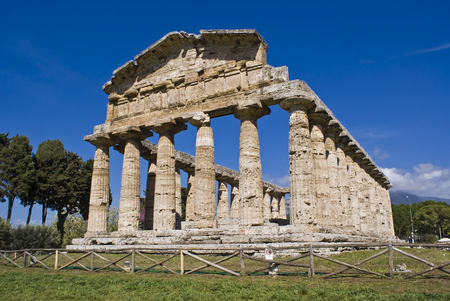 Temple of Athena in the archaeological site of Paestum, Italy