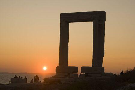 Gate of Apollos Temple in Naxos Island, Greece