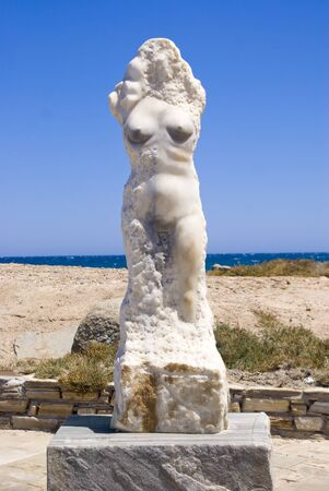 The statue of Ariadne at Naxos island, Greece 스톡 콘텐츠 - 130670993