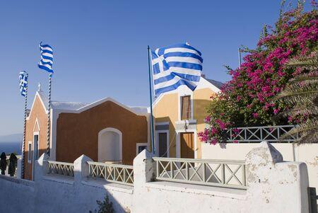 Greek orthodox church in Santorini, Greece 写真素材