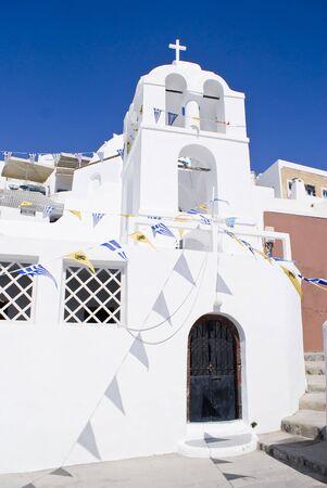 Big greek orthodox church in Santorini, Greece