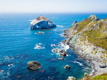 Highway 1 and Big Sur coast California. Bixby Canyon Bridge in California and Big Sur one of most beautiful coastlines in the world