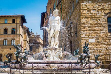 Piazza della Signoria and Fountain of Neptune in Florence. Piazza della Signoria is the square in front of the Palazzo Vecchio, gateway to Uffizi Gallery, and Loggia della Signoria