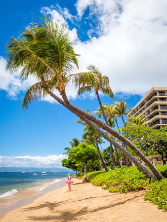 Maui, Sep 2019: Kaanapali Beach, Maui, Hawaii. With three miles of white sand and crystal clear water, no wonder why Kaanapali Beach was once named America Best Beach