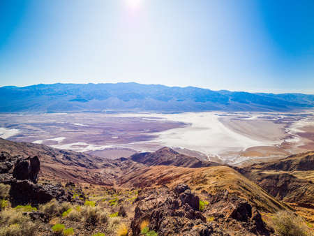 Landscape from the top of Dante's View in Death Valley National Park in California. It is one of the hottest places in the world. Imagens