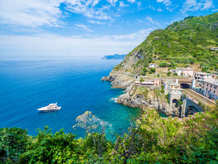 Riomaggiore, an ancient village in Cinque Terre, Italy in the province of La Spezia, situated in a small valley in the Liguria region of Italy