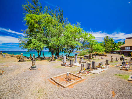 Maui Hawaii - Buddhist Cemetery of Mantokuji Soto Zen Mission, overlooking the Pacific Ocean in Paia. A place of absolute magic for those simply appreciate the religion beauty 写真素材