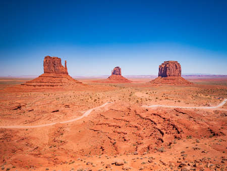 Monument Valley from visitor center, region of Colorado Plateau characterized by cluster of vast sandstone buttes, Arizona Utah border.