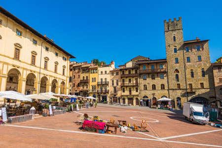 Arezzo, Tuscany - Italy, 2020 Jul: The Piazza Grande site of Giostra del Saracino and Antiques Fair