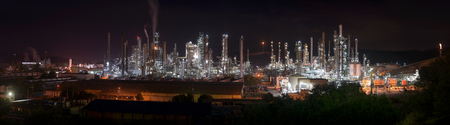 Bright lights of the Oil Refinery shine out in the dark, Chile
