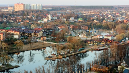 Birds eye view of the Russian small riverside town in spring, Moscow District, Russia Stock Photo