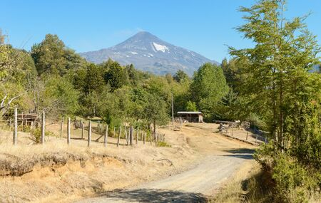 View of the Villarrica volcano  in sunny summer day Stock Photo