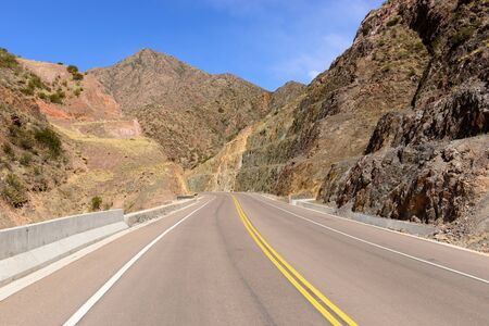 Empty road between the color mountains