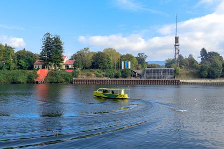 Yellow walking boat Stock Photo