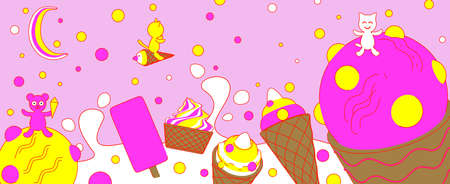 Variety of ice cream with a bear and cats with falling colored candies on a pink background in a cartoon style. 3D rendering