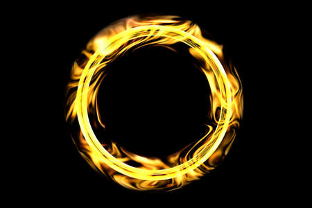 The gold ring in the flame of fire is isolated on a black background. Ring in the fire for the circus. 3D rendering Stock Photo