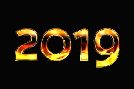 New year 2019. Bright figures on a black background with a reflection of fire. 3D rendering Standard-Bild
