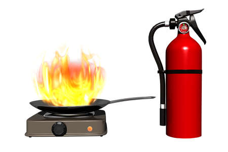 Fire extinguisher for home, isolated white background. Griddle on electric stove in tongues of flame. Fire extinguishing agent. 3D visualization Stock Photo